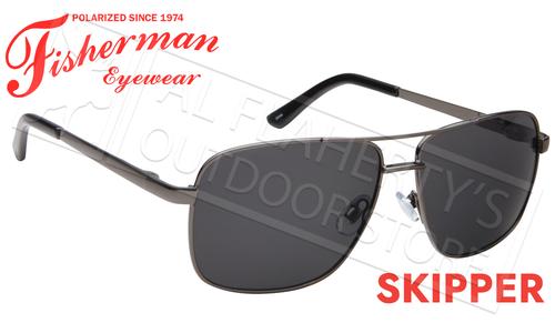 Fisherman Eyewear Skipper Polarized Sunglasses, Gunmetal Frame with Gray Lens #50652301