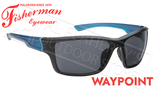 Fisherman Eyewear Waypoint Polarized Sunglasses, Matte Black and Blue Frame with Gray Lens #50663001