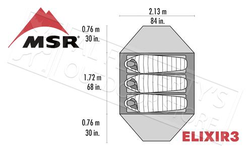 MSR Elixir 3 Lightweight Backpacking 3-Person Tent #02763