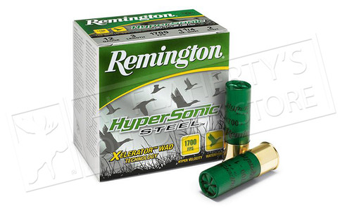 "Remington Hypersonic Steel 12 Gauge 3"" 1-1/4 oz. Box of 25 Sizes: #BB, 1, 2, 3, 4 #HSS12M"