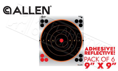 "Allen EZ Aim Reflective Bullseye Target 9"" Adhesive Pack of 6 #15232"