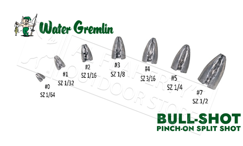 Water Gremlin BULL-SHOT Pinch On Bullet Weights, Various Size Zip Lip Pack #PBS