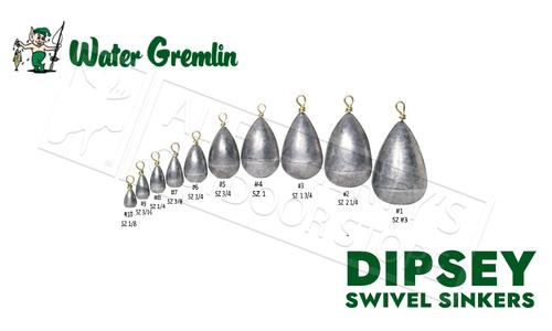 Water Gremlin Dipsey Swivel Sinkers, Zip Lip Packs, Sizes 10 to 1 #PDS