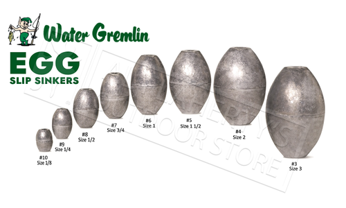 Water Gremlin Egg Sinkers, Zip Lip Packs, Sizes 10 to 1 #PEG
