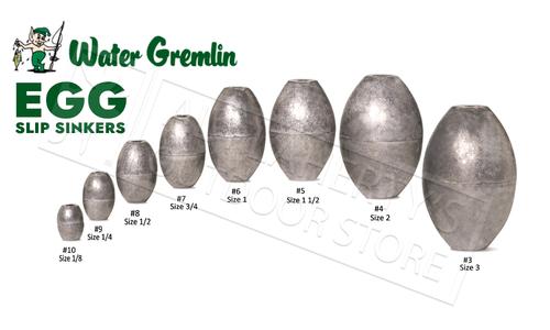 Water Gremlin Egg Sinkers, Zip Lip Packs, Sizes 10 to 1 #PEG
