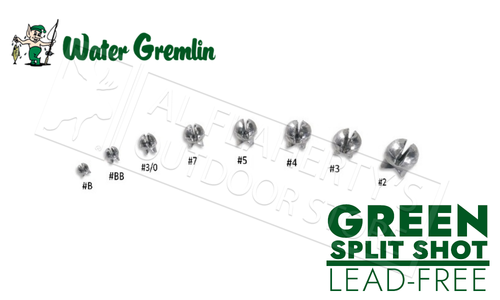 Water Gremlin Green Removable Split Shot, Zip Lip Packs, Lead Free, Sizes BB to 3/0 #ZPSS
