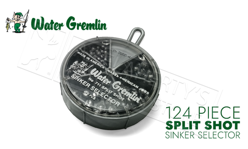 Water Gremlin Removable Split Shot, Sinker Selector, 124 Pieces, Mixed Sizes #711