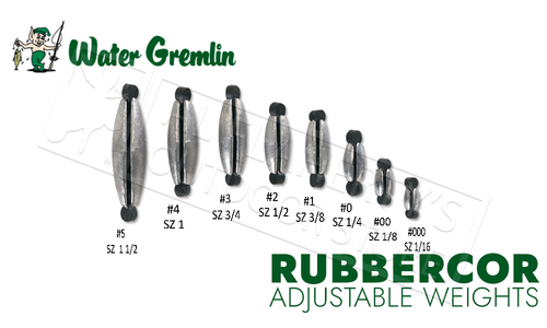 Water Gremlin Rubbercor Sinkers, Zip Lip Packs, Sizes 000 to 5 to #PRC