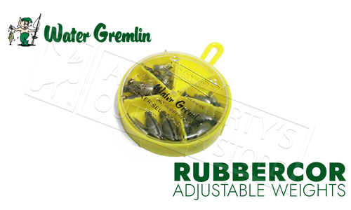 Water Gremlin Rubbercor Sinkers, Sinker Selector, 25 Pieces, Mixed Sizes #14RC