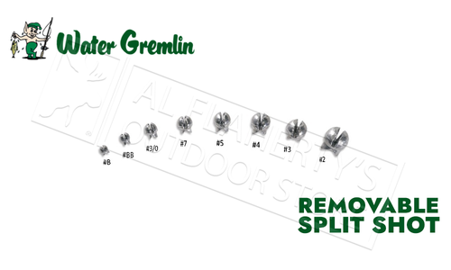 Water Gremlin Removable Split Shot Sinker Selector, Sizes BB to 4, 124 Pieces #711R