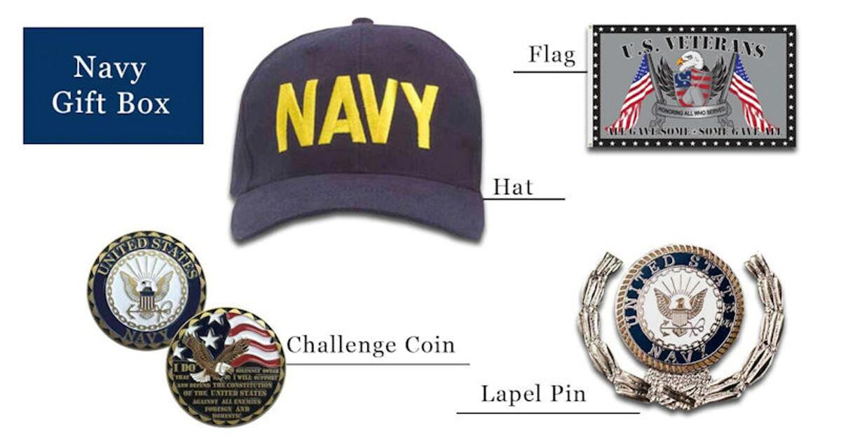 Navy hats coins pins flag gift box free shipping pictured as possible items included in subscription box