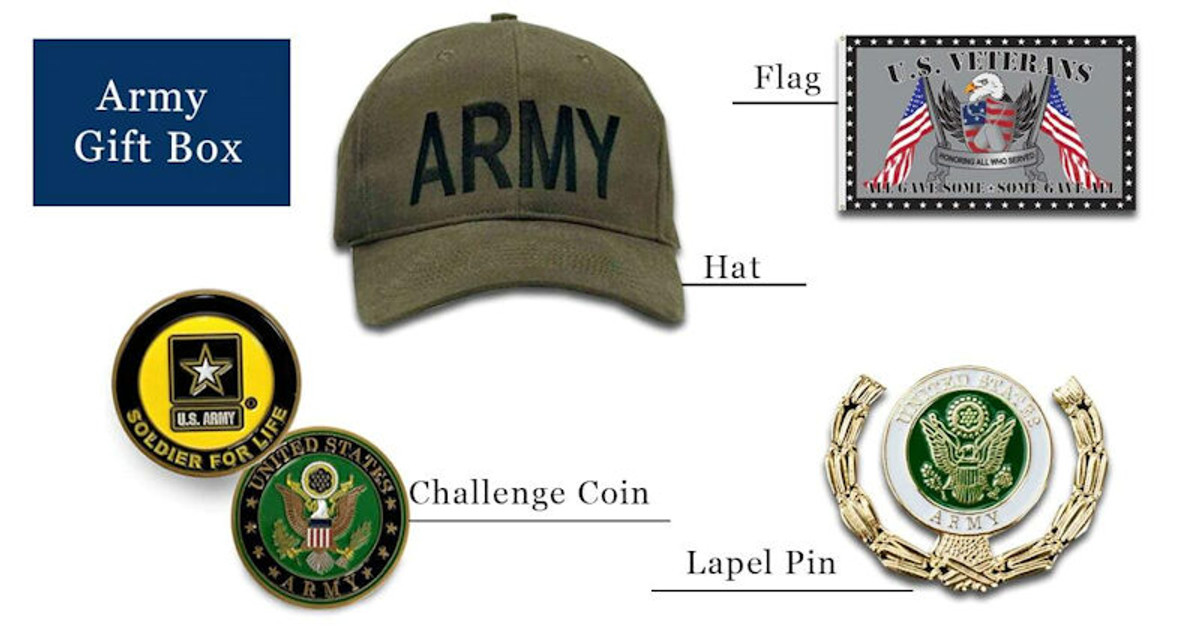 Army hats coins pins flag gift box free shipping pictured as possible items included in subscription box
