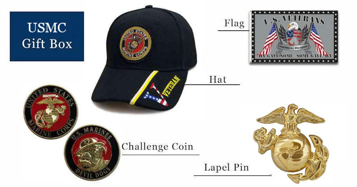 Marine hats coins pins flag gift box free shipping pictured as possible items included in subscription box