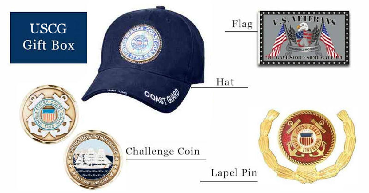 Coast Guard hats coins pins flag gift box free shipping pictured as possible items included in subscription box