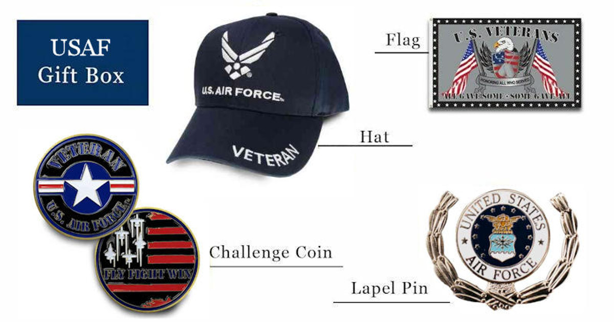 Air Force hats coins pins flag gift box free shipping pictured as possible items included in subscription box