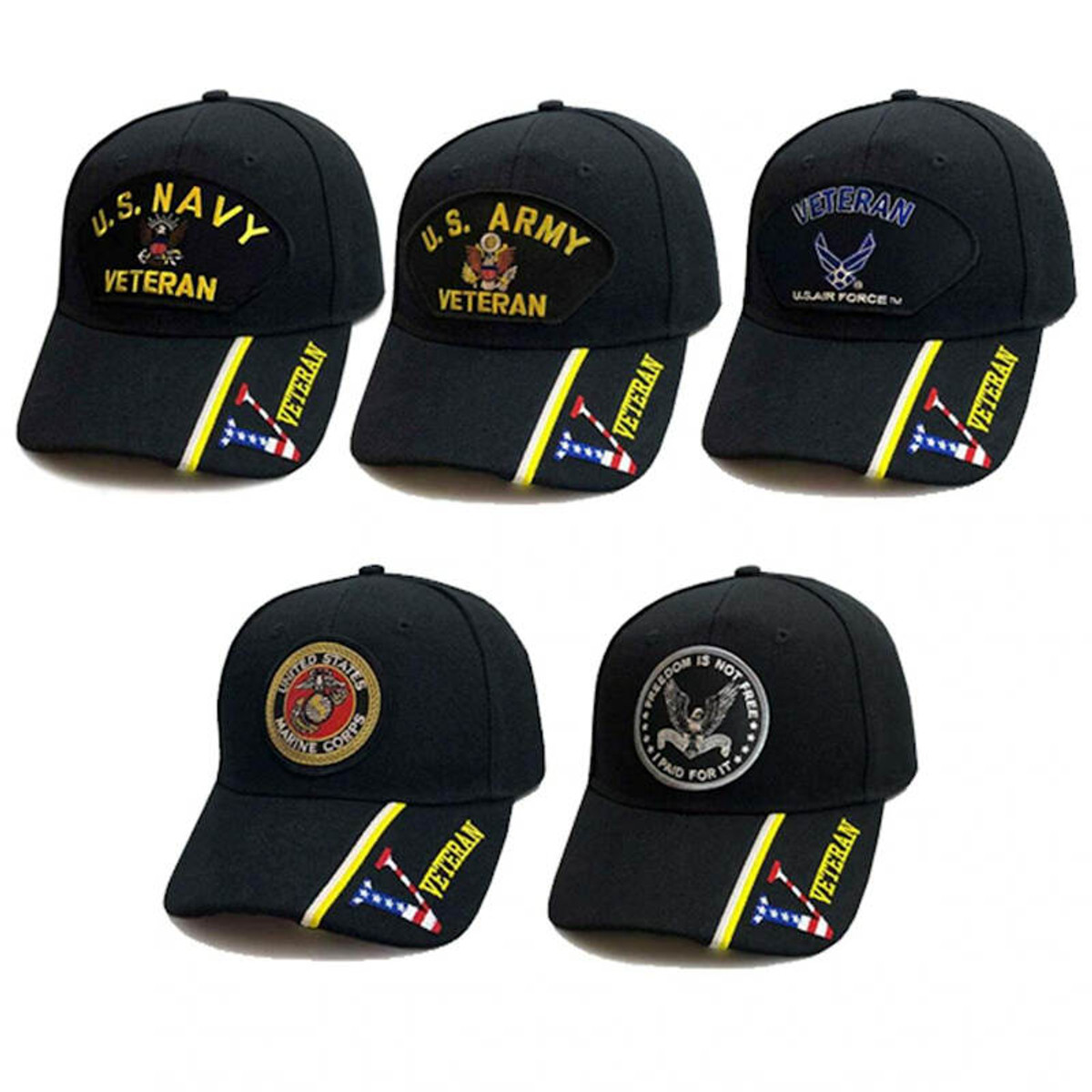 army navy air force marines veteran coast guard  military service hats shown as suggested items for 6-month veteran subscription gift box