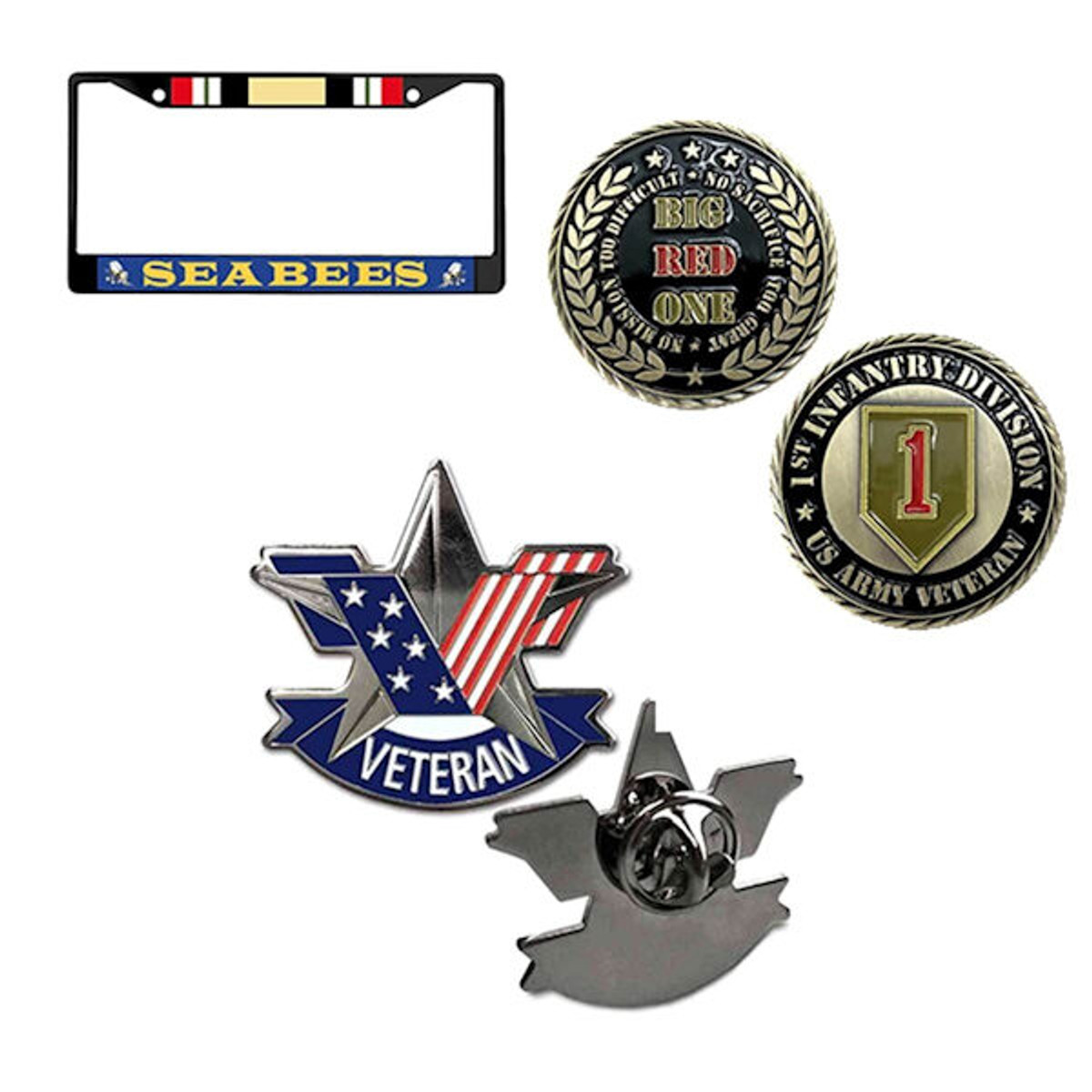 Military pins challenge coins automobile license plate frames