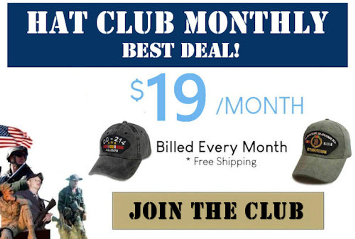 Text box showing $19/month monthly hat club plan. Shipping included.