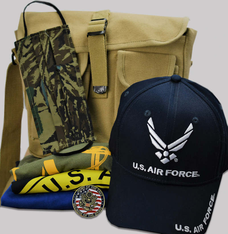 military-bag-hat-mask-shirt-coin-gift-combo