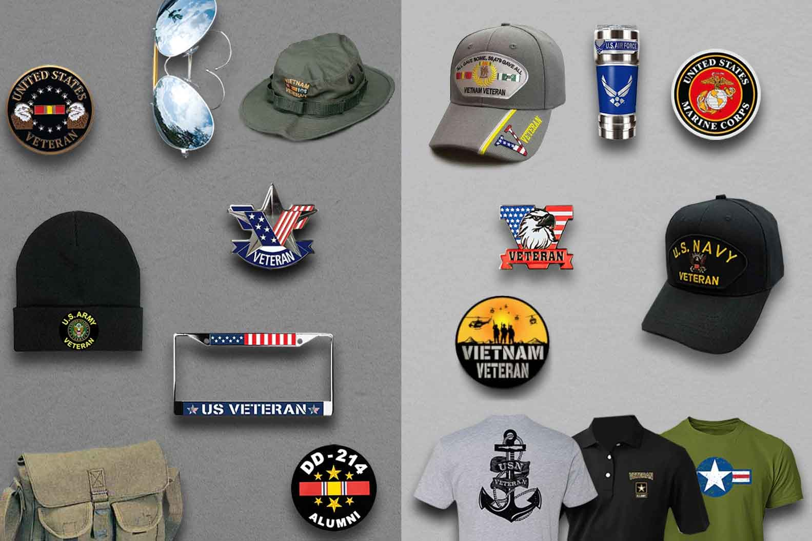 subscription box may include these military hats, coins, pins, t-shirts, mugs decals, lapel pins, sunglasses