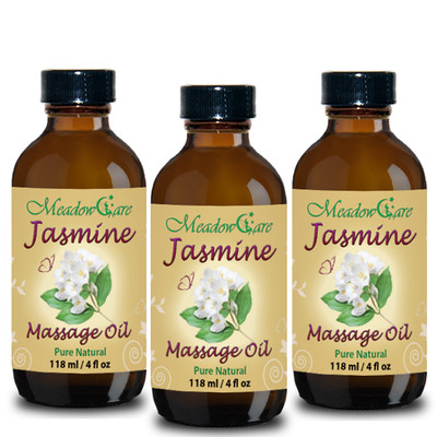 MeadowCare Jasmine Massage Oil 4oz 3-Pack