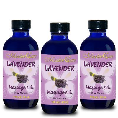 MeadowCare Lavender Massage Oil 4oz 3-Pack