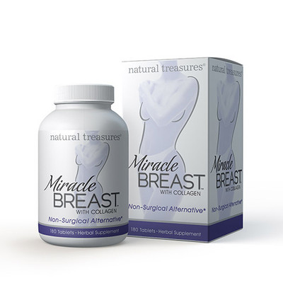 Natural Treasures Miracle Breast with Collagen Herbal Supplement 180 Tablets