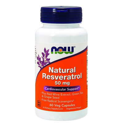NOW Natural Resveratrol 50mg 60 Veg Capsules