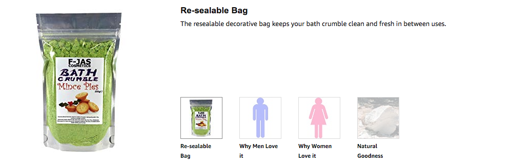 Re-sealable Bag The resealable decorative bag keeps your bath crumble clean and fresh in between uses