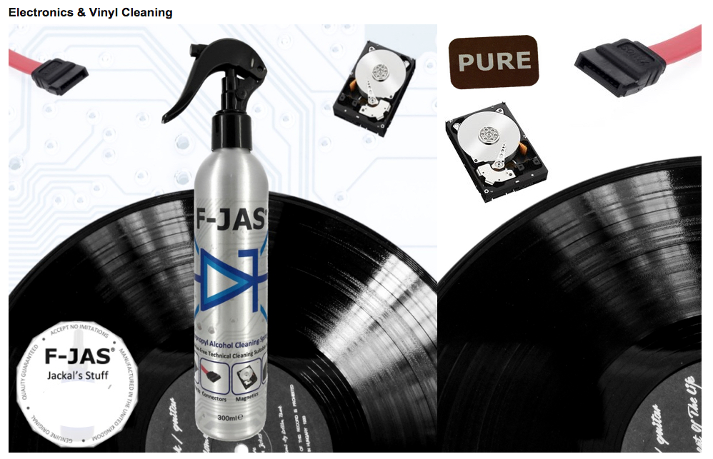 Anti-Static Electronics & Vinyl Cleaning Iso-Alcohol is Perfect for cleaning vinyl records, hard drives, connectors and any other electronic devices and fixtures.