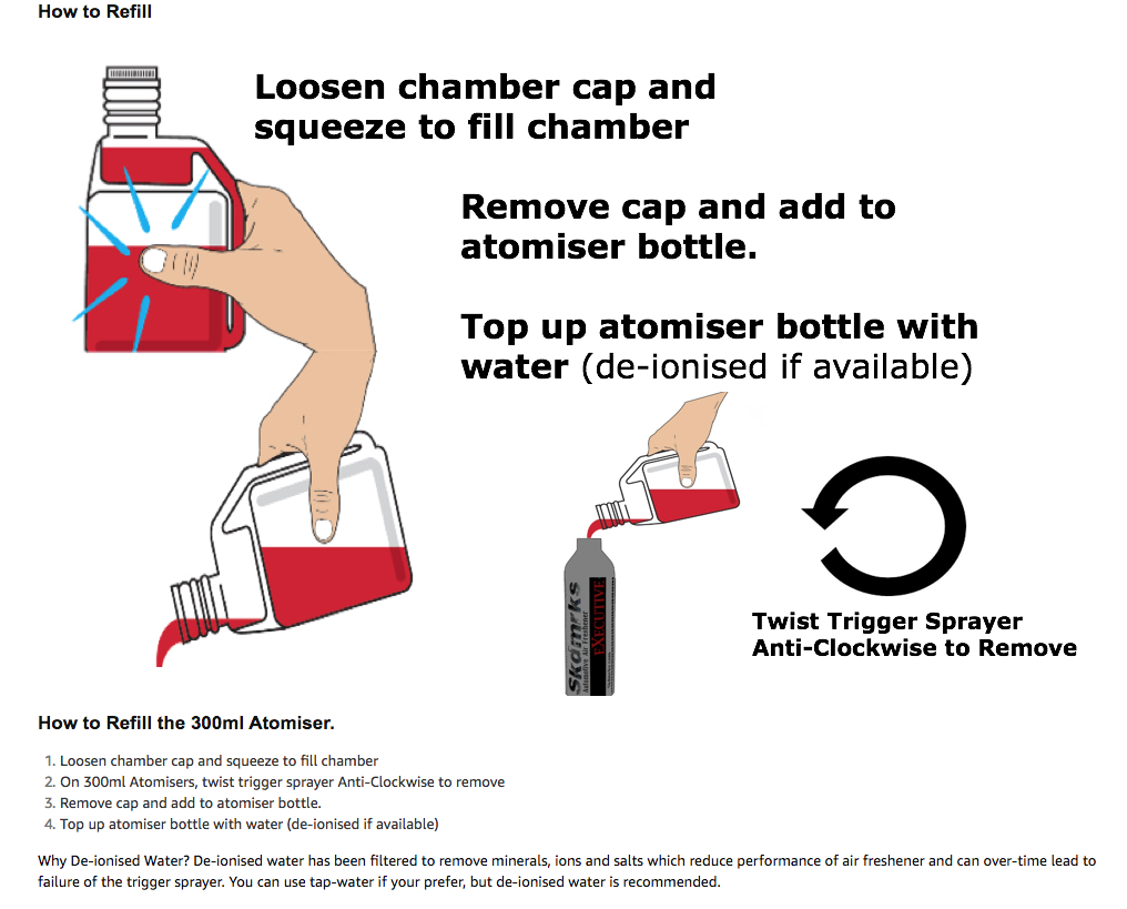 How to Refill the 300ml Atomiser. Loosen chamber cap and squeeze to fill chamber On 300ml Atomisers, twist trigger sprayer Anti-Clockwise to remove Remove cap and add to atomiser bottle. Top up atomiser bottle with water (de-ionised if available) Why De-ionised Water? De-ionised water has been filtered to remove minerals, ions and salts which reduce performance of air freshener and can over-time lead to failure of the trigger sprayer. You can use tap-water if your prefer, but de-ionised water is recommended.