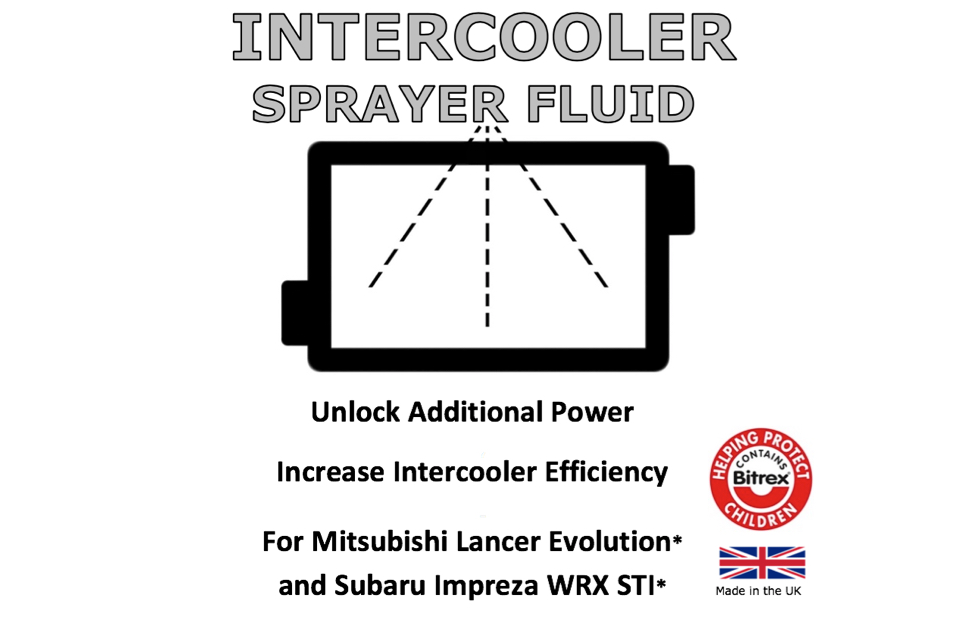 Heat Soak is a problem for Subaru STI vehicles whereby the heat of the engine affects the performance of the intercooler sat on top of it. Intercooler Sprayer Fluid can help with this problem.  DO NOT USE NEAT. Usage 10% Dilution in Water Maximum - Usage at higher levels will result in fire risk.