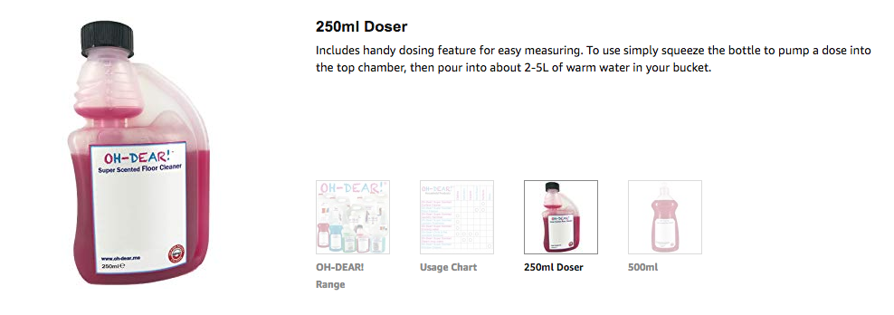 250ml Doser Includes handy dosing feature for easy measuring. To use simply squeeze the bottle to pump a dose into the top chamber, then pour into about 2-5L of warm water in your bucket.