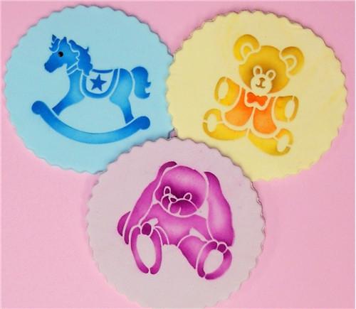 Designer Stencils -  Teddy Bear, Rocking Horse and Bunny Cookie Set (7.62 cm)
