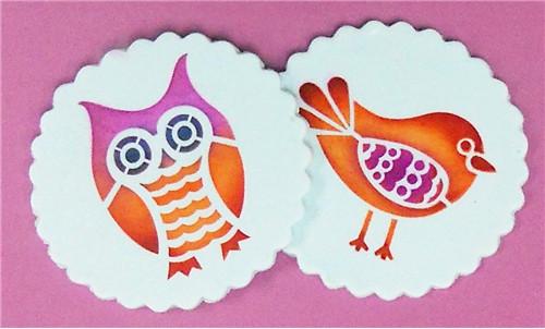 Designer Stencils -  Retro Owl and Bird Cookie Stencil (7.62 cm)