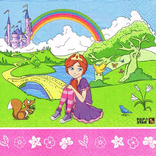 "Papstar - Napkins ""Magic Xperience"" ""princess""3-ply 1/4 fold 33cm (20pk)"