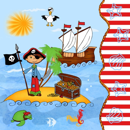 "Papstar - Napkins ""Pirate Island"" 3-ply 1/4 fold 33cm(20pk)"