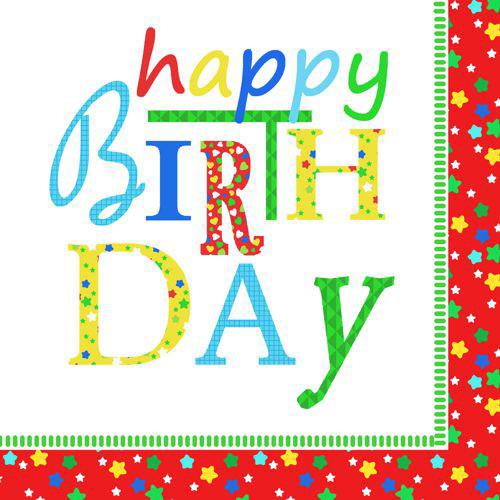 "Papstar - Napkins ""Happy Birthday"" 3-ply 1/4 fold 33cm(20pk)"