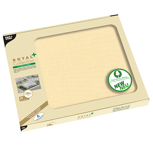 """Papstar - Tablecloth pv tissue mix """"Royal Collection Plus"""" 80cmx80cm Champagne"""