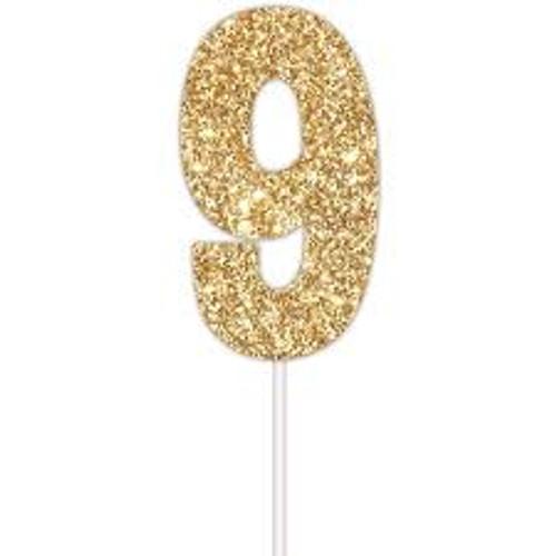Art Wrap - Number 9 Cake Topper Gold (9313559372124