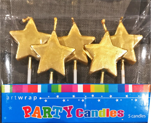 Artwrap Party Candles 5 Pick Gold Stars