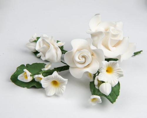 Large Rose Spray -  WHITE