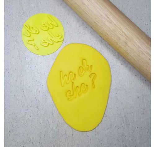 Custom Cookie Cutters - He or She  Embosser  (60mm )