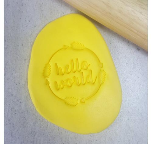 Custom Cookie Cutters - HELLO WORLD Embosser  (60mm )