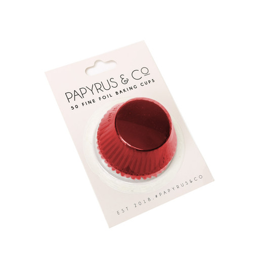 Medium   RED  Foil Baking Cups  (50pack )-  44mm Base