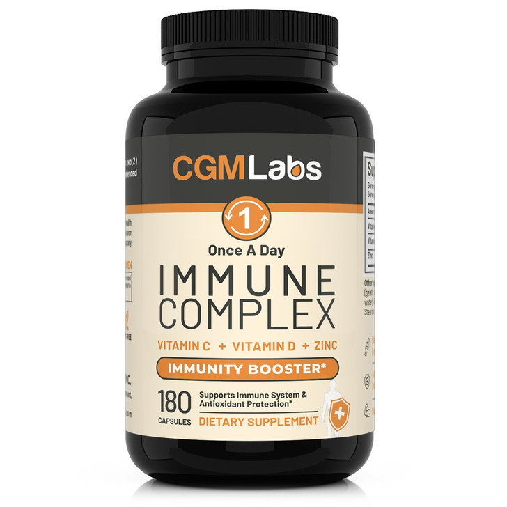 CGM Labs Immune Complex - Once A Day Immune booster Vitamin C 900mg + Vitamin D3 2500IU + Zinc 25mg in Single Serving - 180 Capsules