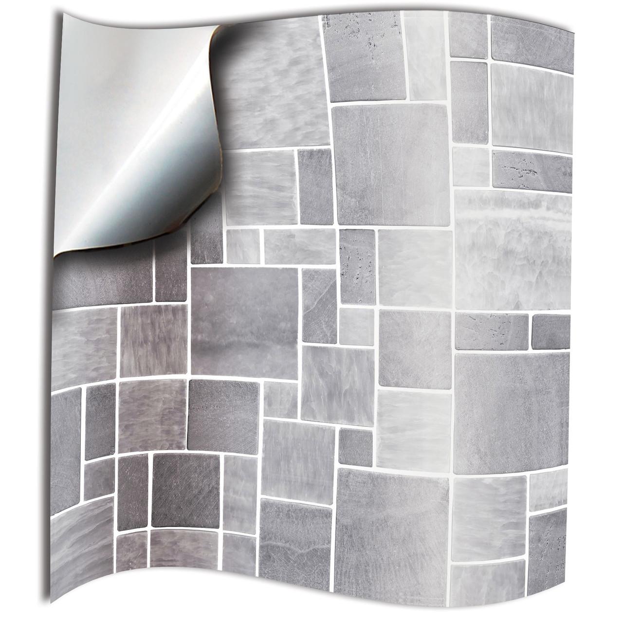 - 24 Light Grey Bathroom Tile Stickers Kitchen Backsplash Grey Tile