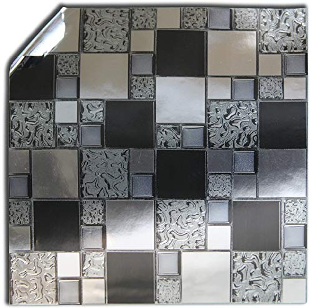 24 Silver Black Chrome Glass Grey Kitchen Bathroom Tile Stickers For 15cm X 15cm 6x6 Inches Square Tiles From Tile Style Decals