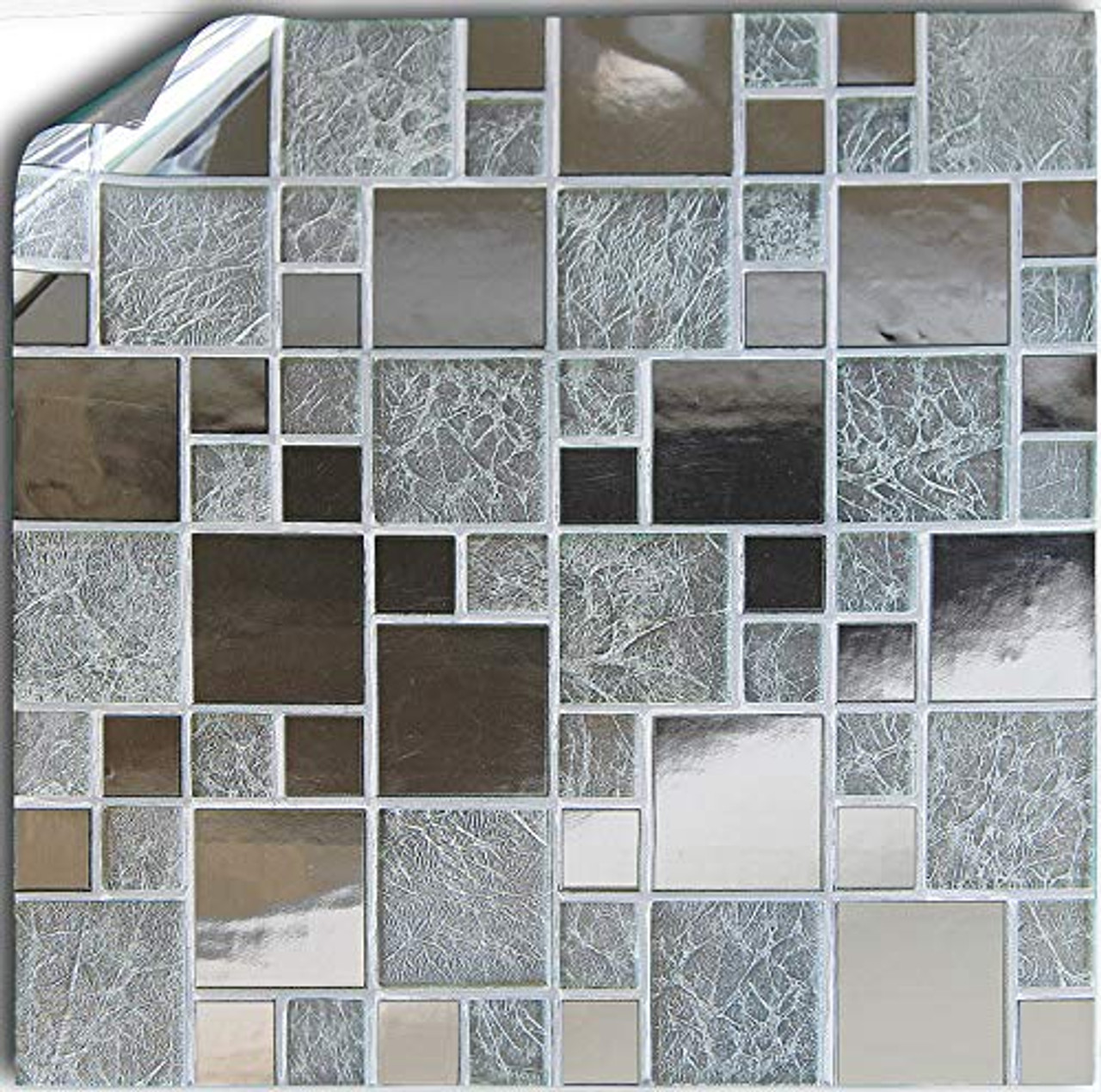 24 Silver Chrome Kitchen Bathroom Tile Stickers For 15cm 6 Inches Square Tiles