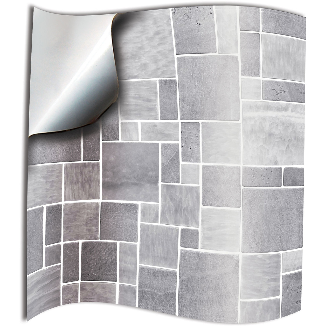 24 Light Grey Printed In 2d Kitchen Bathroom Tile Stickers For 6